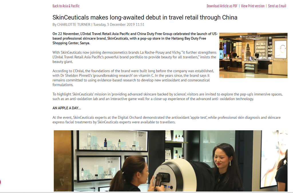 SkinCeuticals sold in China